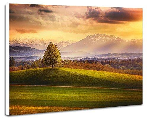 秋の田野と山 - 自然 風景 壁掛け式の装飾画 印刷の絵 ポ...