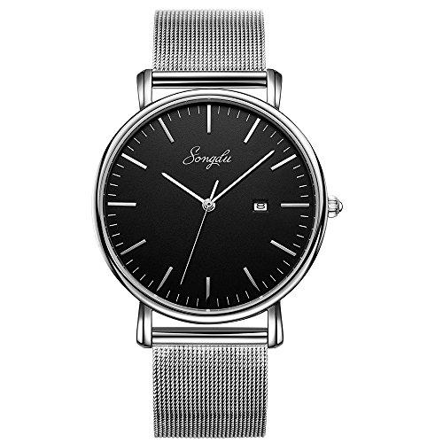 SONGDU ファッション ブラック メンズ クォーツ日付表示 ウォッチ 超薄型 ビジネス カジュアル アナログ 腕時計 (ブラック)