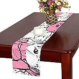 GGSXD テーブルランナー 親しいうさぎ クロス 食卓カバー 麻綿製 欧米 おしゃれ 16 Inch X 72 Inch (40cm X 182cm) キッチン ダイニング ホーム デコレーション モダン リビング 洗える