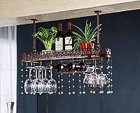 壁ワインラック 吊りワインステムウェアラック、天井取り付け吊りワインボトルホルダーメタルゴブレットワイングラス 簡単な設置 (色 : C, サイズ さいず : L80*W25CM)