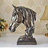 Jhcpca 模造銅の馬の装飾、樹脂の工芸品の研究居間のベッドルームの装飾 (Color : Copper)