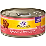 Wellness Natural Pet Food Complete Health Gravies Grain Free Canned Cat Food, Salmon Entree, 5.5 Ounces (Pack of 12)