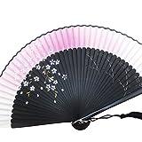 [モノジー] MONOZY シルク 扇子 黒 桜 花柄 扇子袋 セット (しだれ夜桜(ピンク))