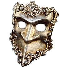 Luxury Venetian Half Face Mask Bauta Baroque with Swarovski Crystals for Men