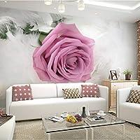 Lcymt ロマンチックなピンクローズフラワーフォト壁画カスタマイズされたサイズ3Dの壁紙結婚式のリビングルームのソファの背景壁の敷物-120X100Cm