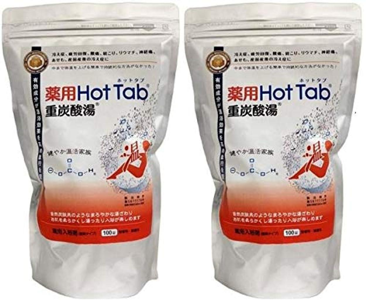悪意許可する接地薬用HotTab重炭酸湯100錠入り 2個セット [医薬部外品]