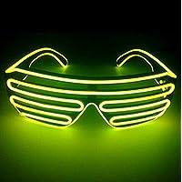 サウンドアクティブ搭載 音で光る LED ELワイヤー シェード サングラス コスプレ クラブ ハロウィン スターウォーズ EDM ヲタ芸 目立つ お洒落 10色 (イエロー)