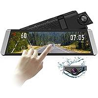 AUTO-VOX X1 9.88インチタッチパネル ミラー型ドライブレコーダー ミラーモニター 1296P デジタルインナーミラー ストリーミングメディア技術支持 前後カメラ同時録画対応 車線逸脱警報 GPS速度測定 駐車監視 防水構造