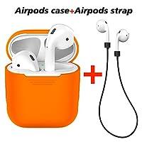 labelbro AirpodsケースAirpods保護用シリコンカバー紛失防止シリコンAirpodsストラップfor Apple Airpods充電耐衝撃ケース (オレンジ)