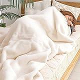 なかね家具 京都西川 アクリル毛布 ダブルサイズ 180x210 日本製 お肌に優しいニューマイヤー素材使用 洗える 肌掛け毛布 ベージュ 2K_1117
