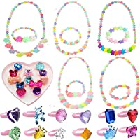 idoxeプリンセスネックレスブレスレットリング、パーティーFavor Pretend Play Necklaces for Little Girlsジュエリー値設定