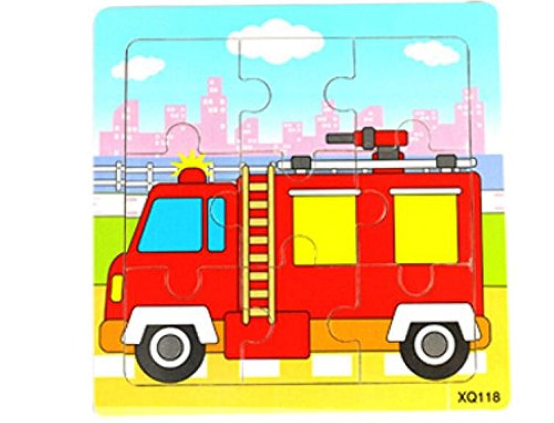 HuaQingPiJu-JP かわいい木製の教育的なパズルアーリーラーニング番号の形の色の動物のおもちゃキッズのための素晴らしいギフト(消防車)