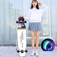 DUWEN スケートボード初心者メープルロングボードアダルトプロ用ブラシストリートダンスボード10代4輪スクーター(フラッシュホイール付き) (色 : B)