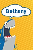 "Bethany: Personalized Shark Isometric DOT Paper notebook for Kids  120 pages 6""x9"""
