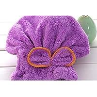 Aiqyi ドライヘアキャップ 大人 子供の防水シャワーキャップ プール 吸水 速乾 防滑(紫)