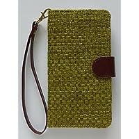 【完全受注生産】 HUAWEI P8max スマホ カバー ケース 手帳型 (麻 綿 ポリエステル PU レザー 合皮) ブックタイプ ダイアリー マグネット 布地 通気性 暑くない やわらかい ライムグリーン 黄緑
