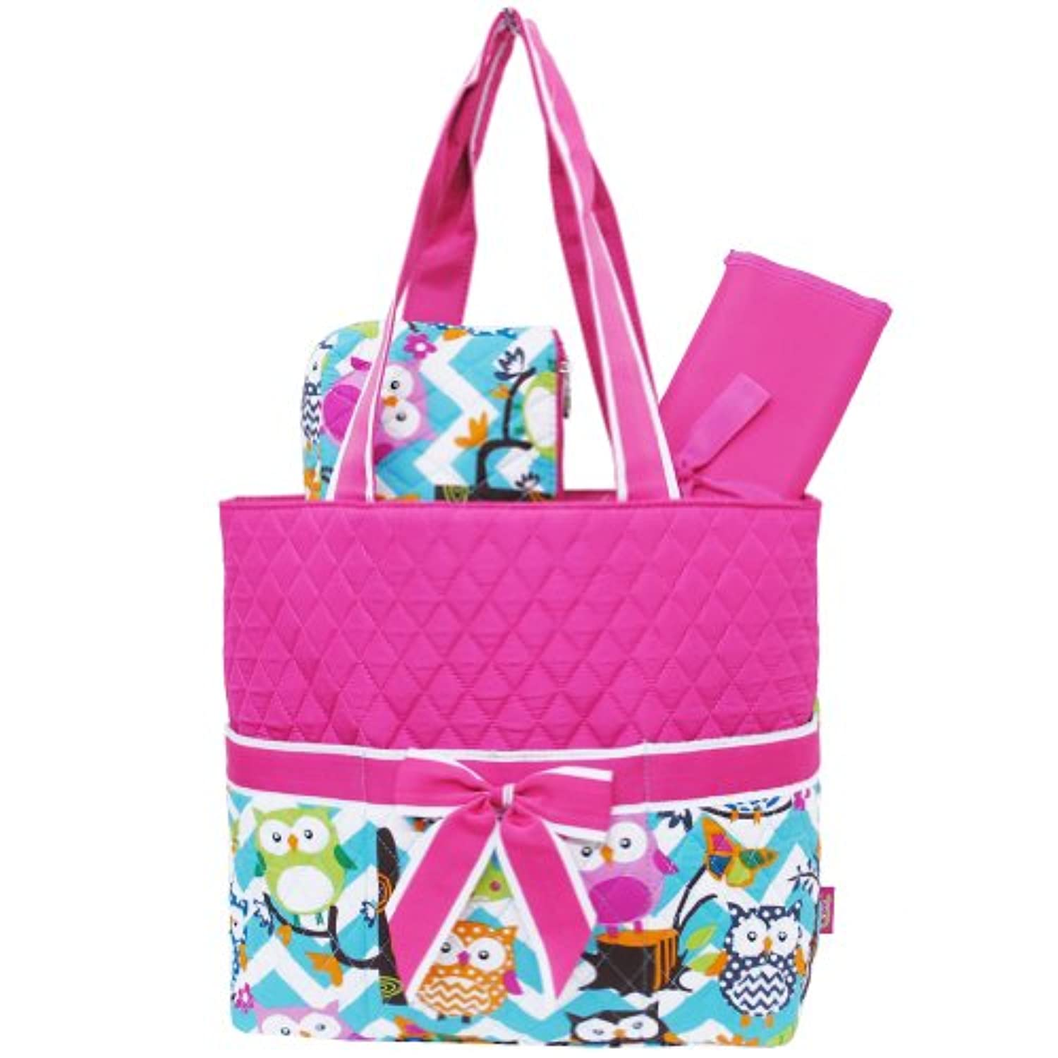 Light Aqua & White Chevron Owl Print 3pc. Diaper Bag (Hotpink) by Zebragogog