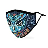 Weddingstar Washable Cloth Face Mask Reusable and Adjustable Protective Fabric Face Cover w/Dust Filter Pocket - Owl Mosaic