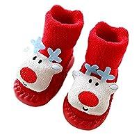 クリスマスの幼児靴 ゴシレ Gosear 1ペアかわいい漫画のクリスマストナカイスタイルの幼児の床の靴の靴0~6ヶ月の暖かいソフトノンススリップブーツ幼児のサイズS