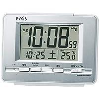 セイコークロック 置き時計 01:銀色メタリック 本体サイズ:9.0×12.3×4.6cm 【ギフト包装】電波 デジタル 温度 表示 PYXIS BC411S
