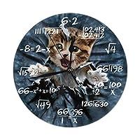 面白い猫柄 掛け時計・おしゃれ 壁掛け時計 連続秒針 静音 アナログ クロック 置き時計 北欧 部屋装飾