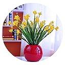 リビングルーム 鉢植えの植物 偽のプラスチック製の花 シミュレーション ドライブーケ 装飾品 室内の小さな家 ダイニングテーブル コーヒーテーブルの装飾,明るい艶をかけられた赤いハイビスカス蘭黄色