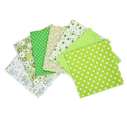 QIN パッチワーク 生地 布地 平織り 綿地布 綿 プリント生地 グリーンシリーズ DIY縫う手作りの布地 7種類セット 25x25cm