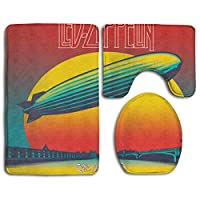 足元マット トイレ3点セット Led Zeppelin レッド ツェッペリン 2 トイレマットセット フタカバー U型O型トイレ 長方形バスマット おしゃれ かわいい 速乾 吸水 家庭用 ホテル用 洗浄暖房用 滑り止め