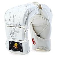 Zoobooボクシングキックボクシングトレーニング–1ペアPUレザー半指MMA Boxing Fighting手袋Suitable for三田Sandbag オフホワイト