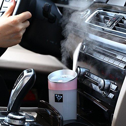 Anself DC 5V 300ML USBマイナスイオン加湿器 ポータブル インテリジェント 2つの霧モード ミニアロマの精油 香り拡散器 ミストメーカー ホーム オフィス 自動車シャットオフ用