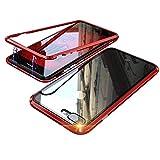 iPhone 8 ケース iphone 7 カバー アルミ バンパー 背面ガラス アイフォン8/7 透明 強化ガラス バックプレートマグネット式 磁力で接続 QI ワイヤレス 充電対応 軽量 薄型 スマホケース 擦り傷防止 耐衝撃保護(iphone7/8,レッド)