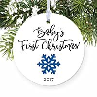baby s first christmas ornament 2018 new baby boy snowflake