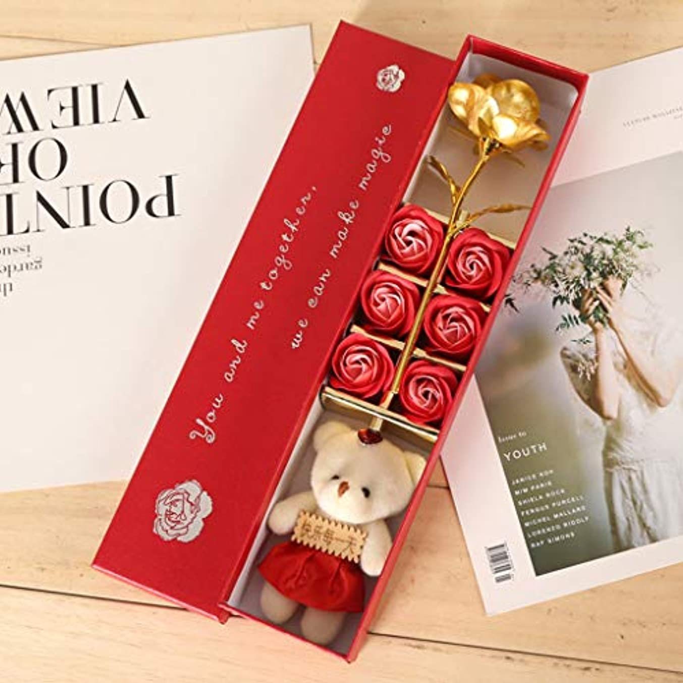 深くパワー結婚する【ゴールデンローズギフトボックス】6石鹸のバラの花/せっけんの花/かわいいバラ/素敵な女の子/ママへのユニークな贈り物/誕生日/母の日/記念日/バレンタインデー/卒業プレゼント/あなたが愛した人のための女性 (レッド)