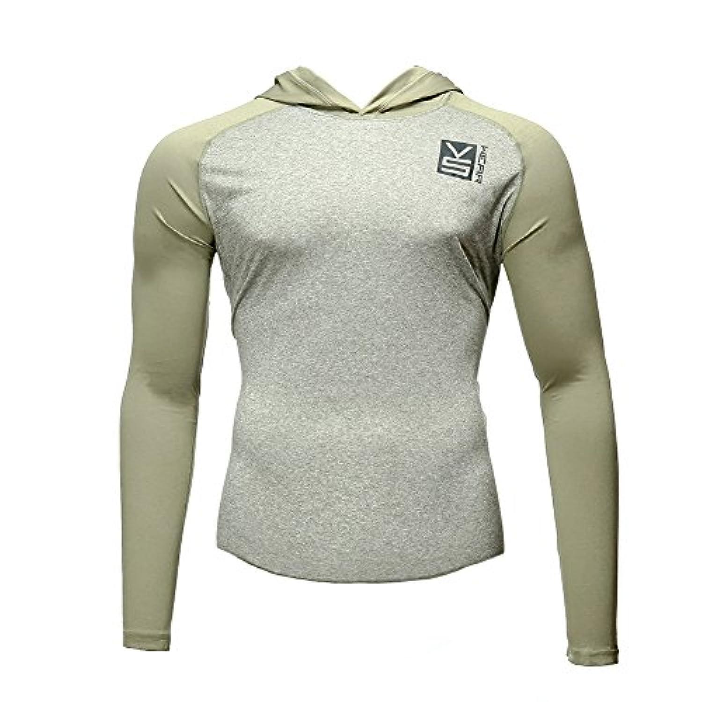 Fusion Vs Wearメンズマイクロファイバースリムフィット圧縮長袖ラグランアスレチックスポーツパフォーマンストレーニングThermal Baselayer TacticalパーカーシャツMade in USA Large...