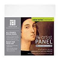 "(1-1/2"" Cradled, 10cm x 10cm) - Ampersand Art Supply Primed Smooth Artist Panel 2.5cm - 1.3cm Cradled Profile, 10cm x 10cm"