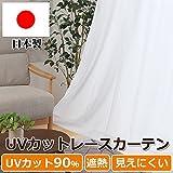 日本製 UVカット率90% レースカーテン「 UVプロテクション 」【UNI】(既製品)ムジ(#9811725)100×176cm2枚組 遮熱 ミラー加工