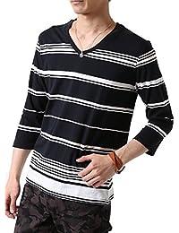(アーケード) ARCADE メンズ 先染めボーダー 細身 タイト Tシャツ 春 夏 Vネック 半袖 7分袖 カットソー