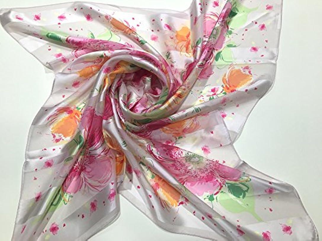 モデレータ期間かなりの日本製スカーフ シルクスカーフ レディーススカーフ マフラー ギフト包装 プレゼント用スカーフ0012 (バラ)