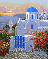 Aegean Landscape Painting By Numbers Kits 40X50Cm Diy Acrylic Painting for Kids Adults Student Home Living Room Decorate With Brushes Framed
