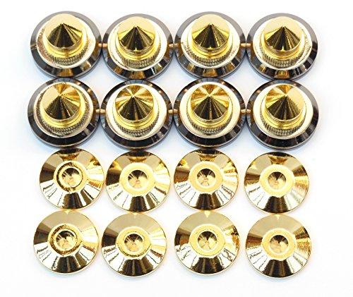 スッキリ 高音質 高さ 調整 可能 金属製 金メッキ オーディオ スピーカー インシュレーター スパイク 受け 8 個 組 セット