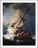 "Alonlineアート–Christ in the Storm海のガリラヤレンブラントFramedのコットンキャンバスホーム装飾壁アート博物館品質フレームをハングアップする準備フレーム 12""x16"" - 30x41cm (Framed Cotton Canvas) VF-RMB108-FCC0F34-1P1A-12-16"