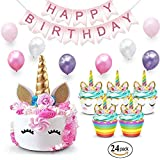 Unicorn Cake Topper & Rainbow Cupcake Wrappers Kit (Set Includes Horn, Ears, Eyelashes) + Happy Birthday Banner Decor | Unico