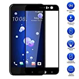 HTC U11 強化ガラスフィルム MaxKu 強化ガラス液晶全面保護フィルム 日本旭硝子素材採用 高透過率 薄型 硬度9H 飛散防止処理 3Dラウンドエッジ加工 自動吸着 液晶保護フィルム(ブラック)