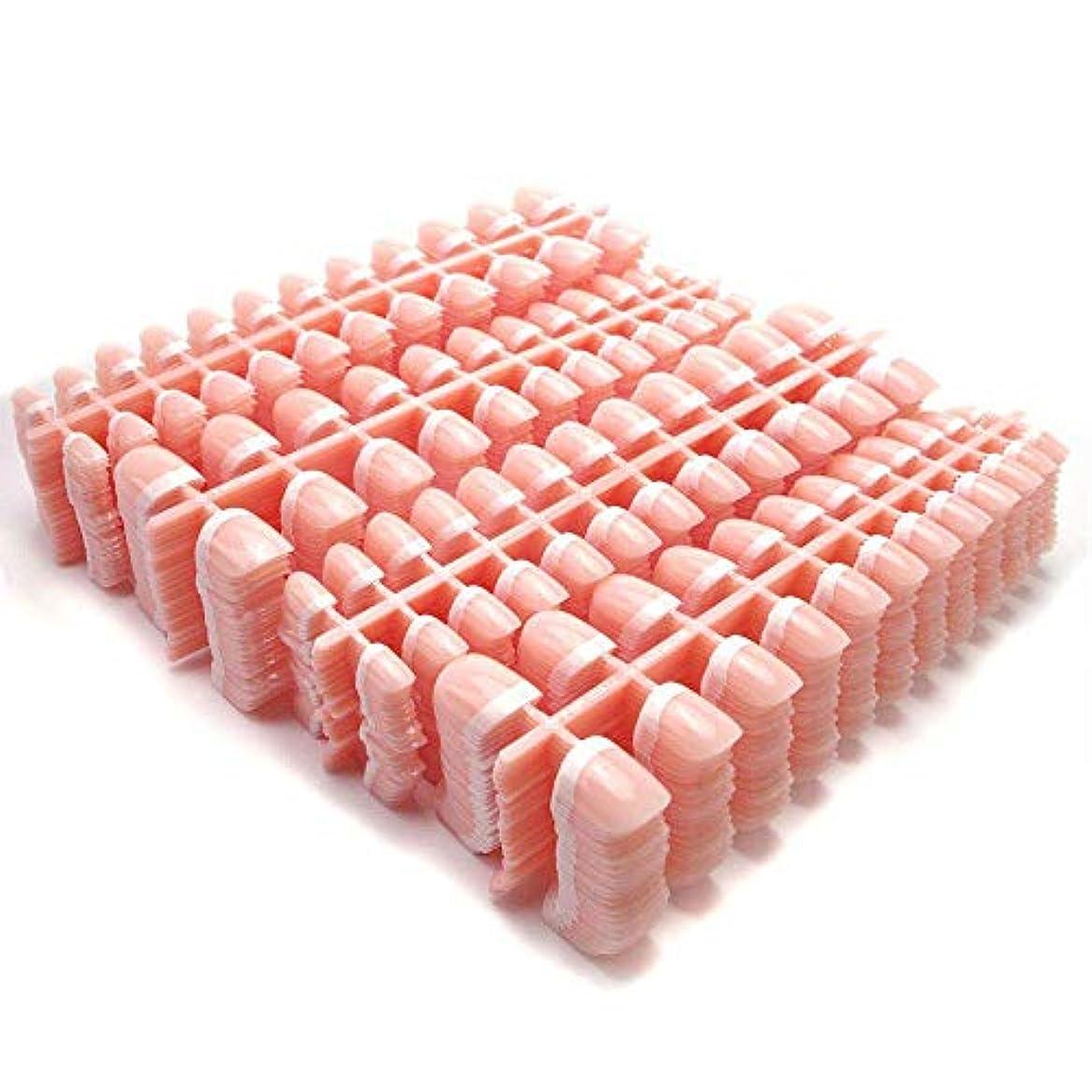 無許可セッティング枠YuNail ネイルチップ 24枚  12別サイズ つや出し 幾何学 セロファン 足の爪 ピンク 短い 四角形 フルカバー 水玉