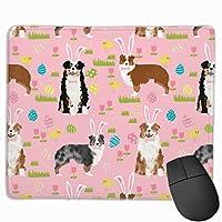 オーストラリアンシェパードオーストラリア犬イースターかわいい春パステル犬デザイン - ピンクマウスパッド 25 x 30 cm