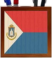 Rikki Knight Saint Maarten Flag on Distressed Wood Design 5-Inch Wooden Tile Pen Holder (RK-PH8787) [並行輸入品]
