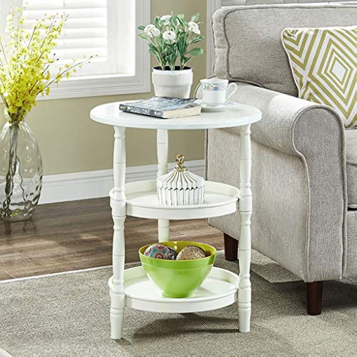 埋め込む忙しいケントHY テーブル3段収納ラウンドスモールコーヒーテーブルリビングルームソファサイドテーブル (色 : 白)