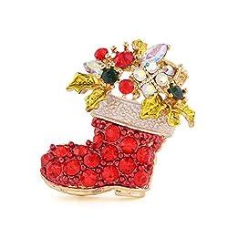 サンタさんの ブーツ型 キラキラ ブローチ クリスマスカラー