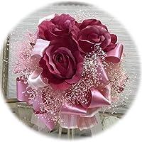 花職人の店 いるでぱいん ウエディングブーケ ブートニア セット ピンク 赤 かすみ草 バラ ラウンドブーケ かすみ草 プリザーブドフラワー りぼん2種 ブライダル アートフラワー