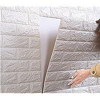 【Hilax】 3D壁紙パネル 3Dウォールステッカー (厚手タイプ) 立体自己粘着シール ホワイトレンガ調 70cm×77cm DIY (9313 10枚セット)